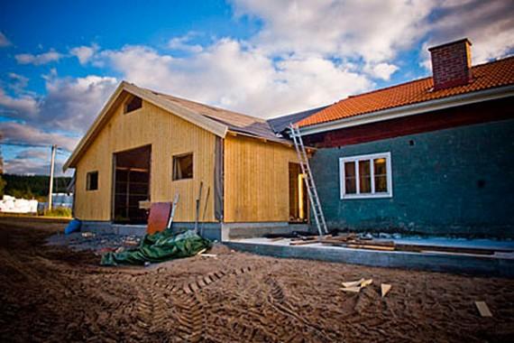 Stallbygge i Förnebo, utanför Järvsö i Hälsingland.