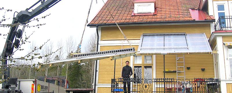 2007 monterade Kent Wallin upp sitt solfångarsystem.