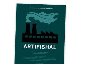 Mikael Frödin visar smakprov från filmen Artifishal